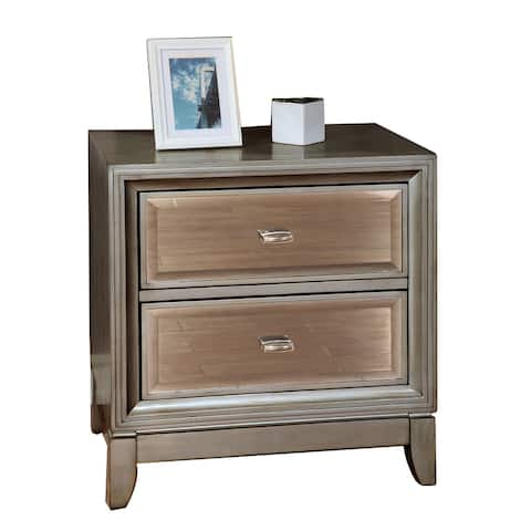 Contemporary Solid Wood Night Stand With Drawers, Silver - As Pictured
