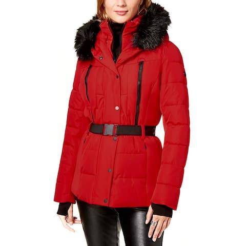 Michael Kors Womens Red Lightweight Coat Jacket