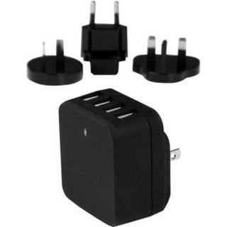 Startech Travel Usb Wall Charger  4 Port  Black  Universal Travel Adapter  International Power Adapter  Usb Cha