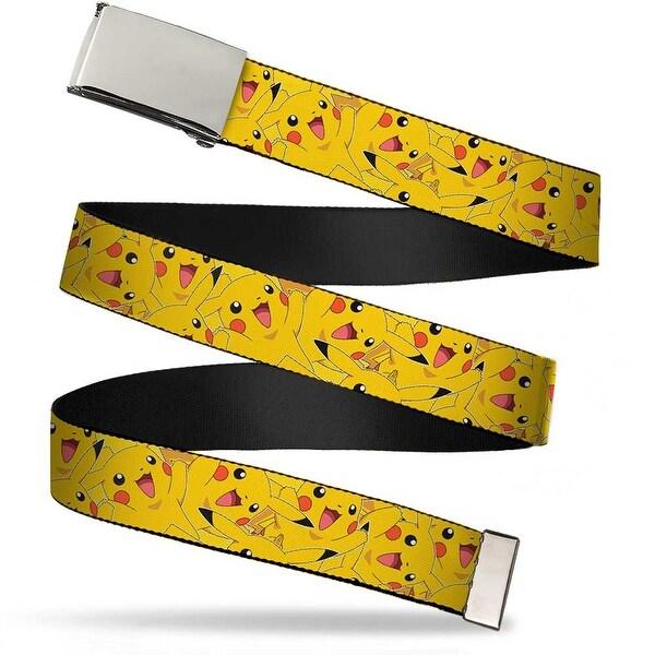 Blank Chrome Buckle Pikachu Stacked Webbing Web Belt