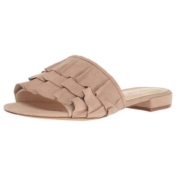 Nine West Womens Ivarene Leather Open Toe Casual Slide Sandals