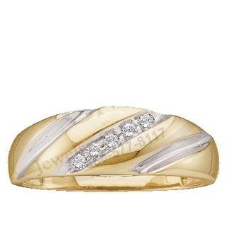 10k Yellow Gold Round Channel-set Natural Diamond Mens 2-tone Wedding Anniversary Band 1/10 Cttw - White
