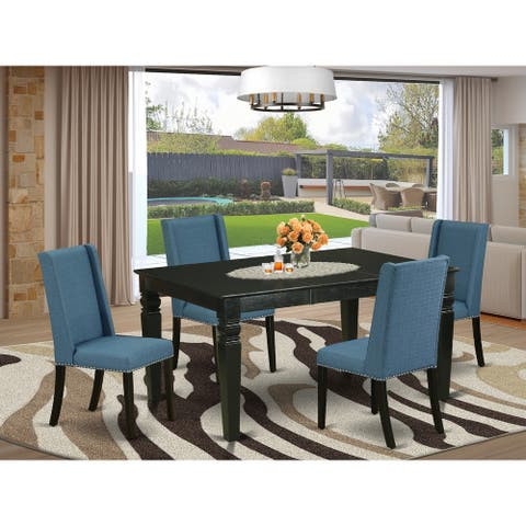 WEFL5-BLK-21 5-Pc small dining table set- 4 dining room chairs and Butterfly Leaf dining table--High back & Black Finish