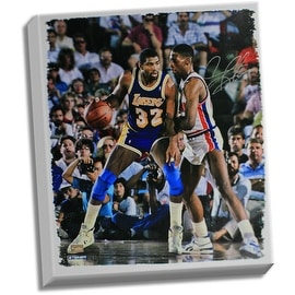 Dennis Rodman Defending Magic johnson Signed 20x24 Canvas signed in silver