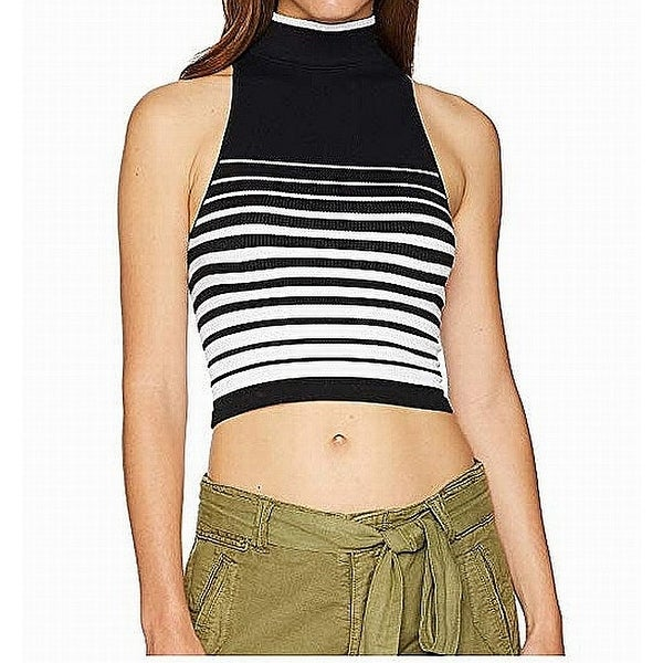 7d9657dc13 Shop Free People Black White Womens Small S Striped Turtleneck Crop Top -  On Sale - Free Shipping On Orders Over $45 - Overstock - 27653977