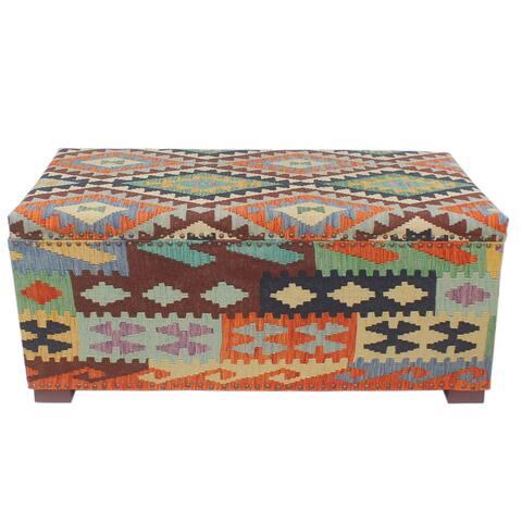 "Rustic Houghton Rust/Blue Kilim Upholstered Storage Settee - 48""x24""x21"""