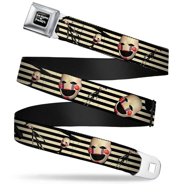 Five Nights At Freddy's Logo Weathered Full Color Black White The Puppet Seatbelt Belt
