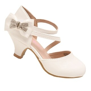 Bella Marie Little Girls White Rhinestone Bow Ankle Strap Shoes