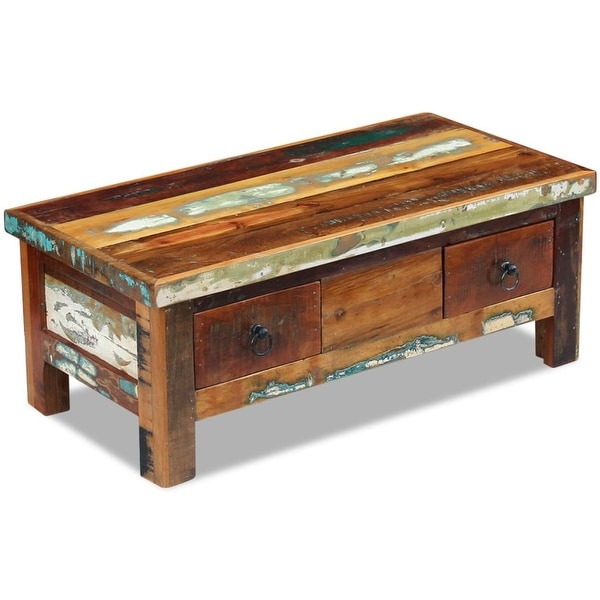 "vidaXL Coffee Table Drawers Solid Reclaimed Wood 35.4""x17.7""x13.8"""