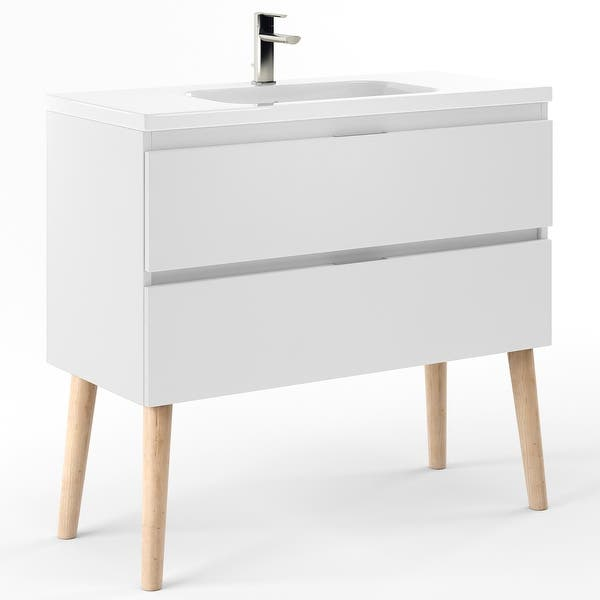 40 Bathroom Vanity Cabinet Sink Legs Seattle W40 X H35 X D18 In Rhd White Overstock 31939264