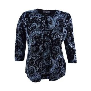 Alex Evenings Women's Petite 2-Pc. Printed Jacket & Shell - Black/Blue - pl