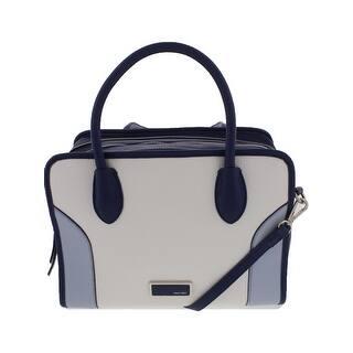 Nine West Womens Suit Reboot Satchel Handbag Faux Leather Colorblock Medium