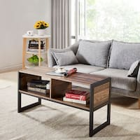VECELO Rectangular Storage Coffee Table/Sofa Tables,Metal & Wood Modern Style