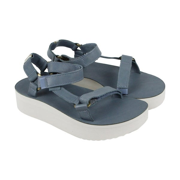 Teva Flatform Universal Crafted Womens Blue Leather Flip Flops Sandals Shoes