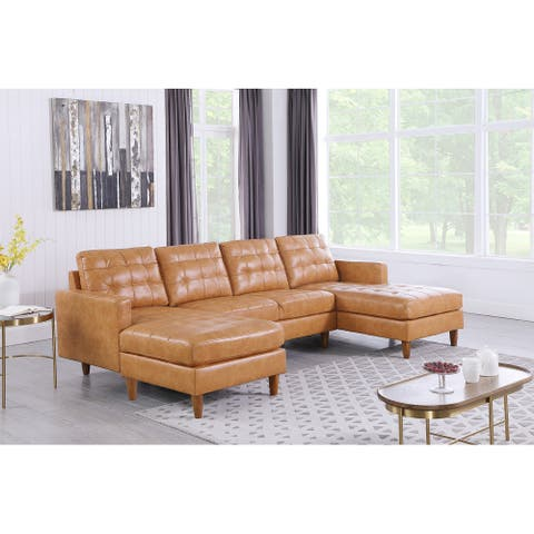 Corvus Oreanne Faux Leather Mid-Century Modern Sectional Sofa Set