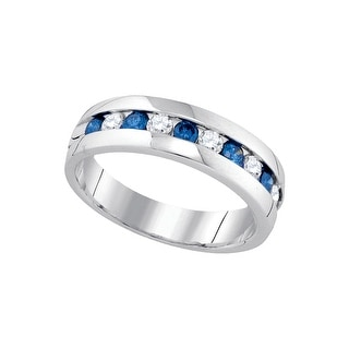 10kt White Gold Womens Round Blue Colored Diamond Band Wedding Anniversary Ring 1.00 Cttw