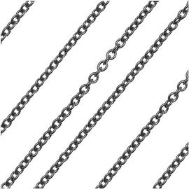 Gun Metal Delicate Cable Chain 1.2mm Bulk By The Foot