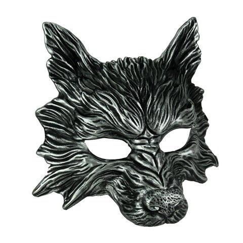 Metallic Silver Scary Wolf Adult Costume Mask