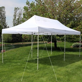 Sunnydaze Quick Up Instant Pop Up Canopy Party & Wedding Tent 10 x 20 Foot White