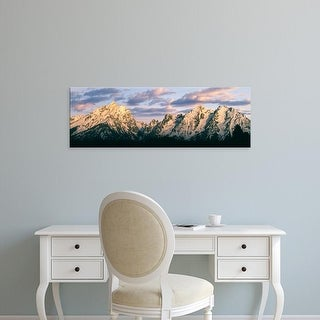 Easy Art Prints Panoramic Image 'Alpenglow lights up the Teton Range, Grand Teton National Park, Wyoming' Canvas Art