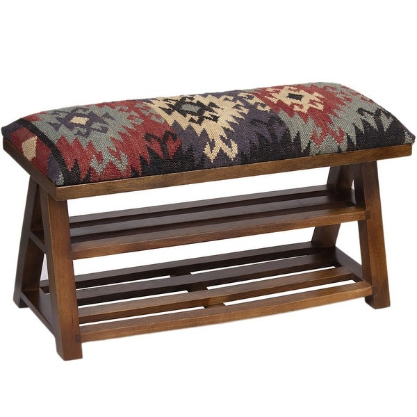 "Handmade Kilim Upholstered Wooden Storage Bench (India) - 30"" L x 12"" W x 16"" H. Opens flyout."