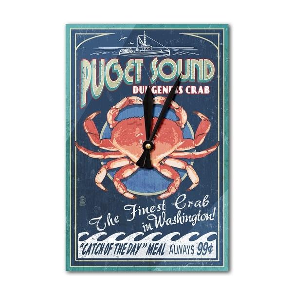 Puget Sound WA Dungeness Crab Vint Sign LP Artwork (Acrylic Wall Clock) - acrylic wall clock