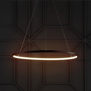 "Link to Brice 23.7"" Round Integrated LED Metal Chandelier, Matte Black by JONATHAN  Y Similar Items in Chandeliers"