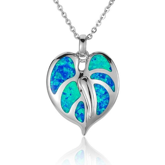 """Anthurium Necklace Opal Sterling Silver Pendant 18"""" Chain"""