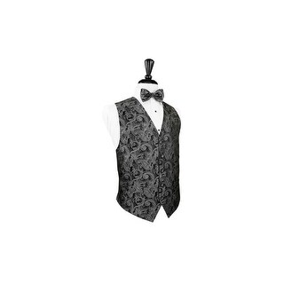 Silver Silk Tapestry Paisley Vest and Bow Tie