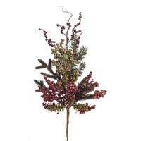 """Club Pack of 12 Red and Green Artificial Metallic Berry/pine Christmas Sprays 28"""""""