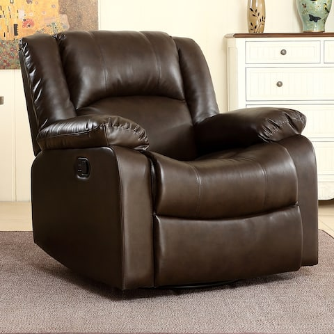 Belleze Rocker and Swivel Glider Recliner Chair Faux Leather - standard