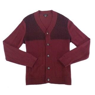 Alfani Port Red Mens Size Medium M Button Down Cardigan Sweater