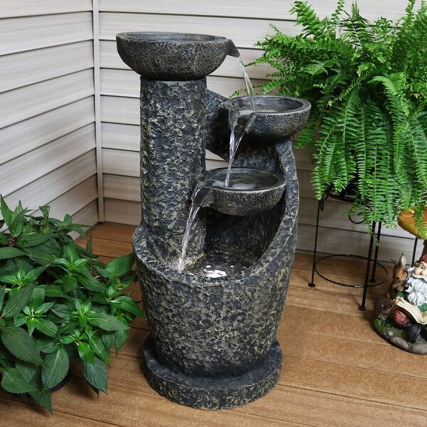 Sunnydaze 3-Tier Modern Spiraling Bowls Outdoor Fountain with Lights - 32-Inch