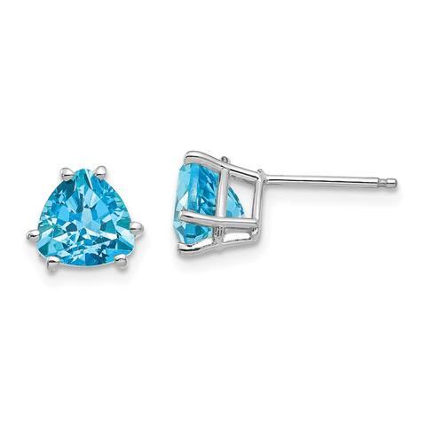 14K White Gold 7mm Trillion Blue Topaz Earrings by Versil