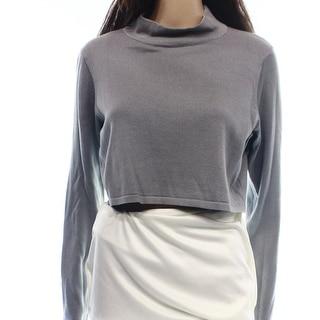 Elie Tahari NEW Gray Women's Size Medium M Mock-Neck Knit Crop Sweater