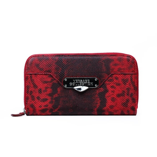 Versace Collection Red Patterned Leather Zip Around Continental Wallet