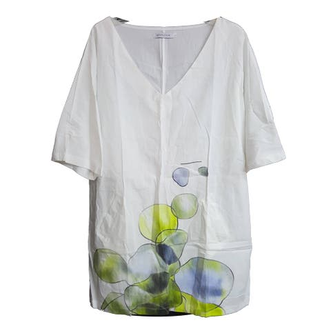 MissLook V-Neck with Pockets Long Shirt, White, Large