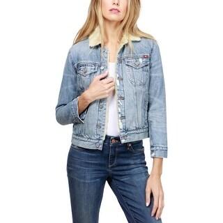 Lucky Brand Denim Jacket Spring Faux Fur Trim - L