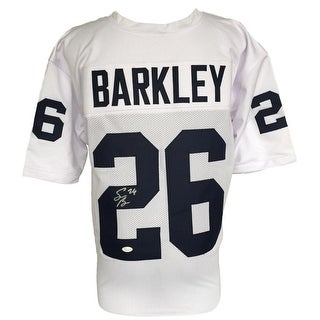 Saquon Barkley Signed Custom White College Football Jersey JSA Signature Debut