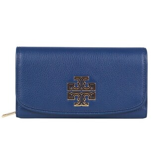 Tory Burch Britten Duo Envelope Continental Blue Leather Wallet Clutch