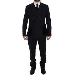 Dolce & Gabbana Blue Wool Torero Slim 3 Piece Suit Tuxedo - it52-xl