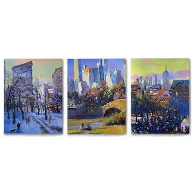 Canvas Triptych 3 Piece Set New York Sightseeing by Suren Nersisyan