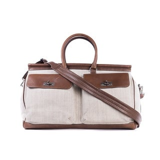Brunello Cucinelli Mens Canvas And Brown Leather Travel Bag