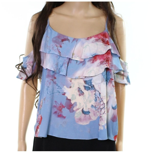 275bc5b0d8066 Shop Willow   Clay Blue Womens Large L Floral-Print Cold-Shoulder Blouse -  On Sale - Free Shipping On Orders Over  45 - Overstock - 22110086