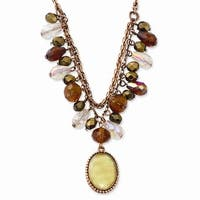 Copper Multicolor Acrylic Beads & MOP Necklace - 16in