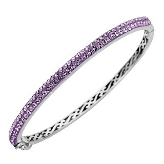Crystaluxe Bangle Bracelet with Purple Swarovski Crystals in Sterling Silver