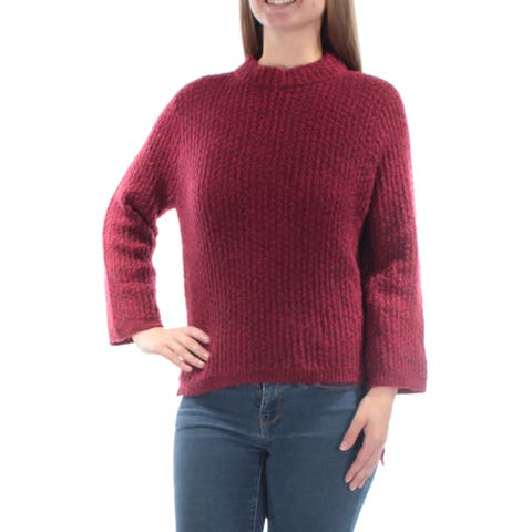 RACHEL ROY Womens Red 3/4 Sleeve Turtle Neck Sweater Size: S