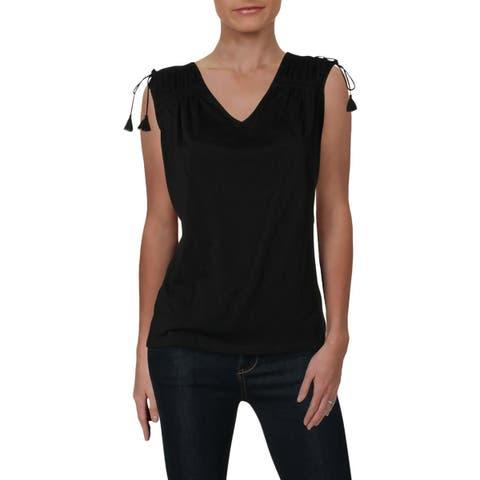 Lauren Ralph Lauren Womens Pullover Top Cotton Tassel
