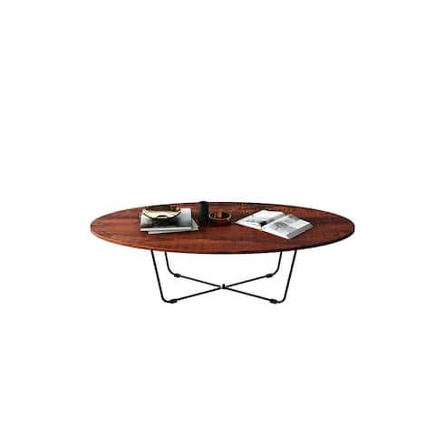 Simple Design Oval Coffee Table for Living Room, Sandalwood