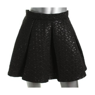 Aqua Womens Pleated Brocade Mini Skirt